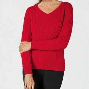 Karen Scott Red Cable Knit V Neck Sweater L Long